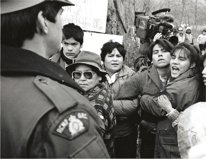 The 1990 Lillooet Lake Road blockade, where members of the Mt. Currie Indian band blocked the road in protest over on-going native land claims.  The RCMP served a court injunction to clear the road and arrested 63 protestors.  Photos by David Buzzard